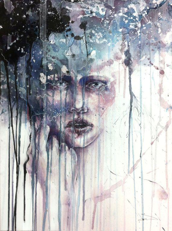 """Abstract Watercolor Portrait Painting- """"Romanticize Our Demise"""""""