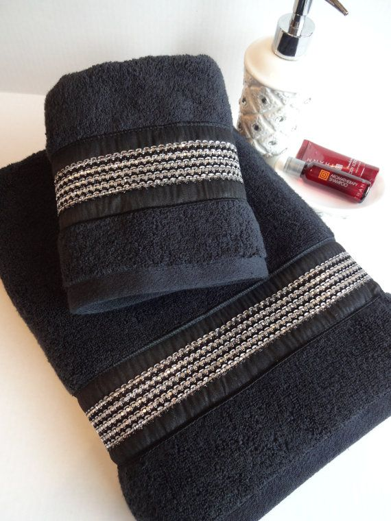 Black and silver rhinestone towels black towel bath for Black and silver bathroom sets