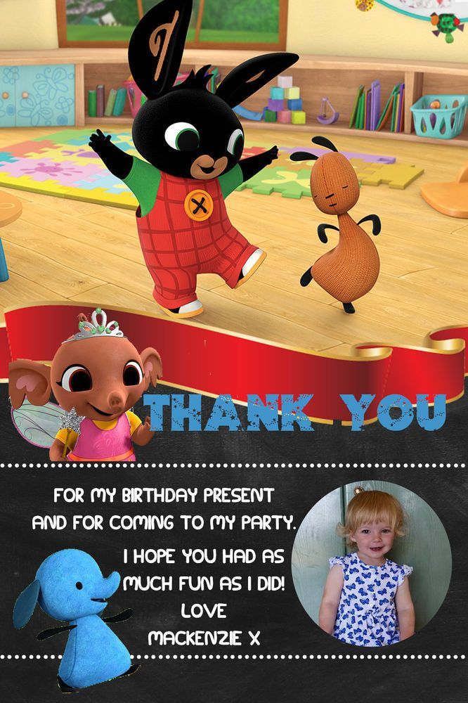 Personalised Photo Bing Bunny Sula Birthday Party Thank You Cards inc Envelopes