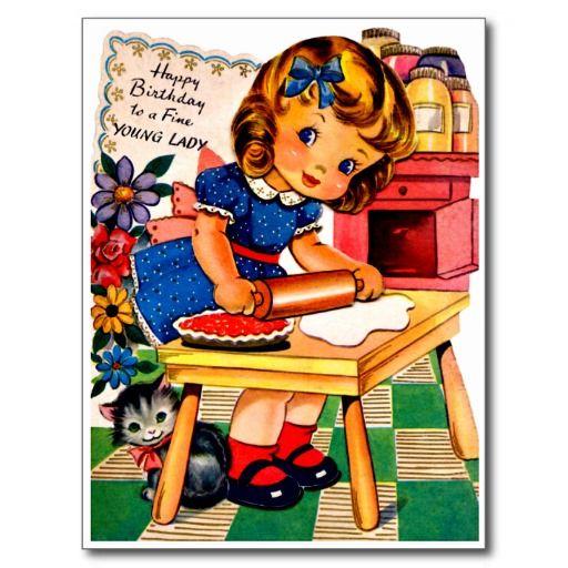 """Het de leuke Pastei en Puppy van het Baksel van het Meisje - Retro Gelukkige Briefkaart van de Verjaardag De vintage Retro Kaarten van de Verjaardag voor alle leeftijden. De grappige, Leuke, Gelukkige Kaarten van de Verjaardag voor kinderen, meisjes en jongens, mamma's en dads, grootmoeder en grootvader, broers en zusters, tantes en ooms, neven… en voor vrienden. Alle kaarten zijn hersteld, de hersteld de smetten, vlekken en de scheur. Personaliseer als u door te gebruiken """"aanpast het""""…"""