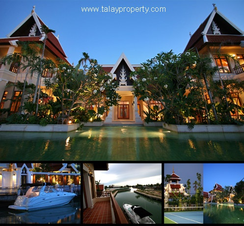 luxus villa mit eigenem bootssteg zum verkaufen na jomtien pattaya haus villa kaufen mieten. Black Bedroom Furniture Sets. Home Design Ideas