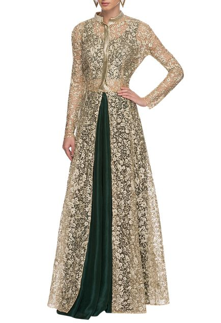 White & gold embroidered jacket with emerald lehenga set
