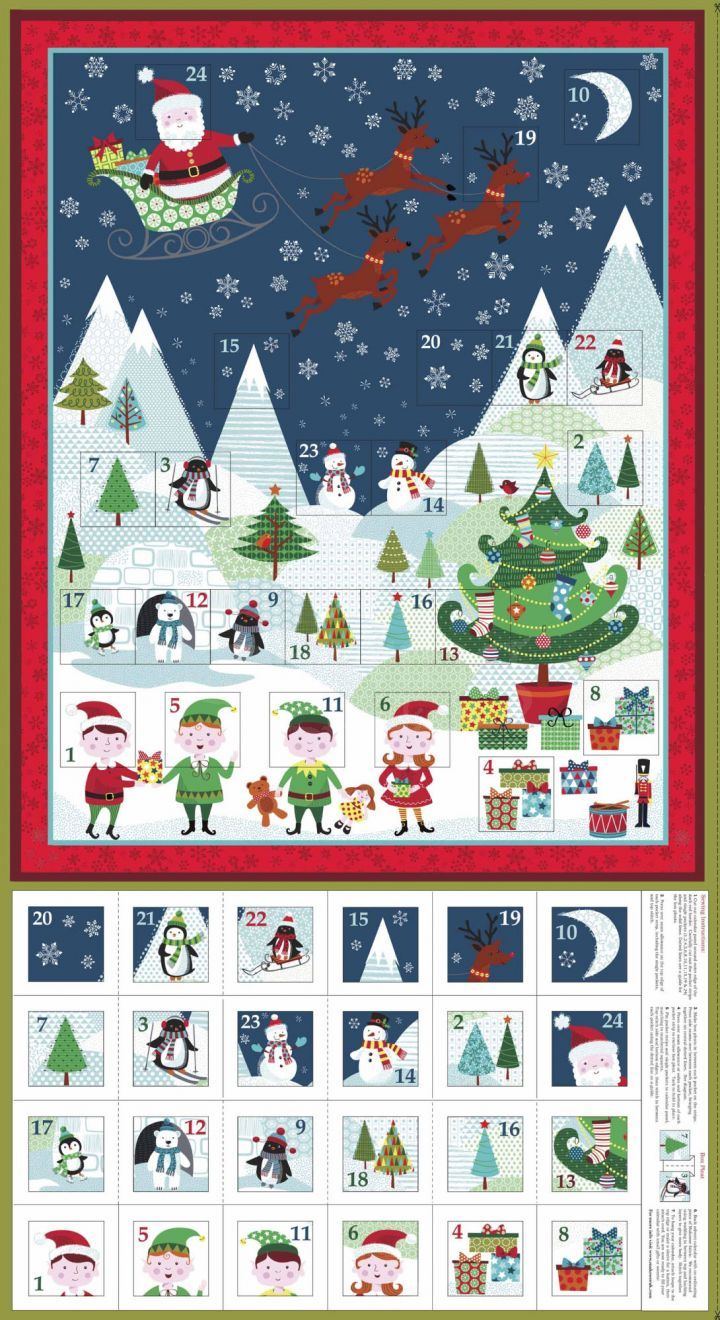 "QT Santas Coming to Town by Dan Morris 24613 24/"" Advent Calendar Cotton Fabric"