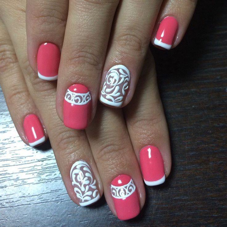 Coral and white nails, Festive French nails, French manicure ideas 2016, french manicure news 2016, French manicure with pattern, Graduation nails, Luxurious french nails, Luxurious nails