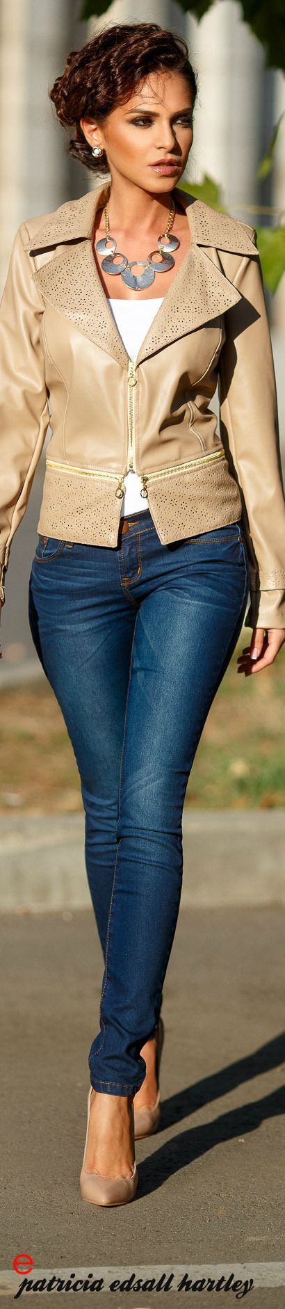 Tan Short Leather Jacket w zipper details ~ Atmosphere Fashion