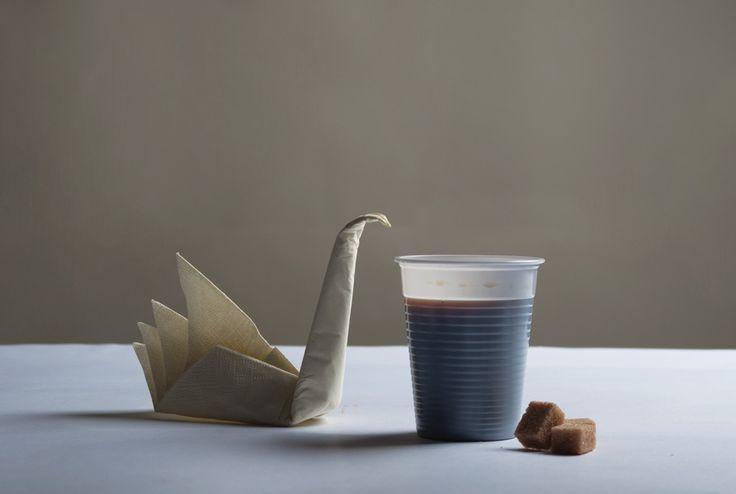 Swan with coffee by Csilla Klenyánszki