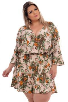 23e844275 Macaquinho Plus Size Rubi Flores VK Moda Plus Size Loja