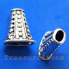 #Cone, silver-finished, 17x18x9mm. #TreasureStone Beads Edmonton.
