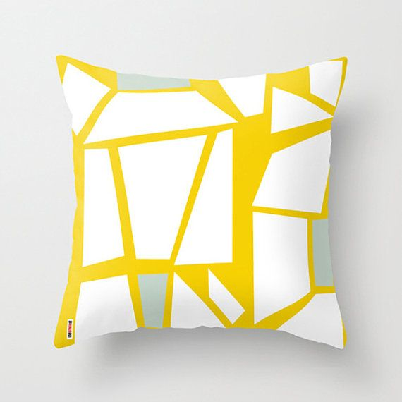 Geometric throw pillow - Abstract pillow cover - Art pillow cover - yellow and white pillow - Modern pillow case - Artistic cushion cover on Etsy, $55.00