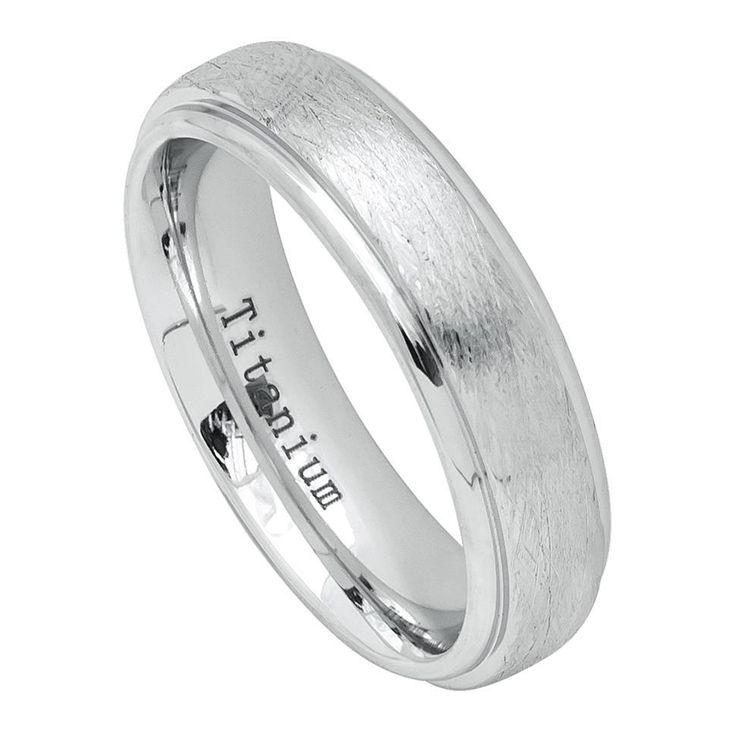 6mm White IP Plated Titanium Ring with Ice Finish Beveled Edge