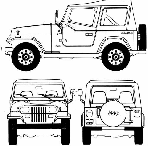 The-Blueprints.com - Blueprints > Cars > Jeep > Jeep Wrangler (1987)