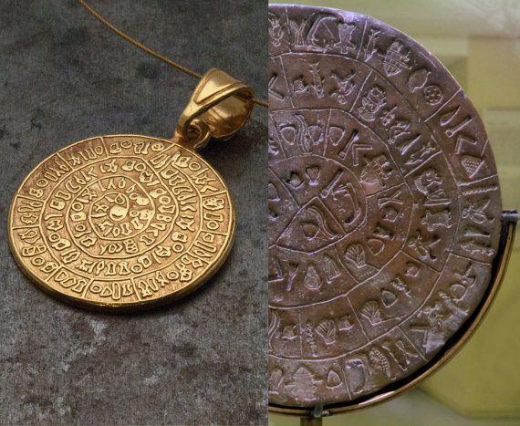 Greek Phaistos Disc Gold NecklaceCrete Unisex by GreekMythos