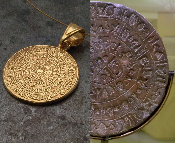 Greek Phaistos Disc Gold NecklaceCrete Unisex by GreekMythos