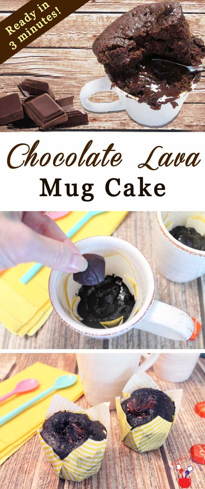 An easy mug cake to make for those that love chocolate! Chocolate cake, a liquid chocolate center, pour in a mug, pop in the microwave, ready in a minute! via @2CookinMamas