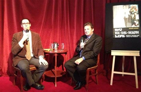 Being interviewed by William Yeoman at book launch.