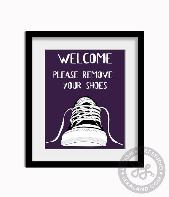 Bienvenue veuillez enlever vos chaussures art moderne par Leraland