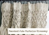 AWESOME Pair of Smocked Jute Curtains GiveawayDecor Ideas, Curtains Giveawaysmok, Thistlewood Farms, Smocking Jute, Soft Surroundings, Burlap Curtains, Smocking Curtains, Curtains Add, Jute Curtains