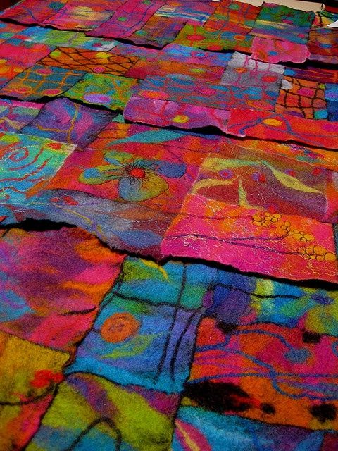 colorful wool felt quilts | colorful felt