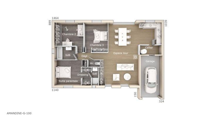 17 meilleures id es propos de plan maison 100m2 sur for Achat maison neuve villebon sur yvette
