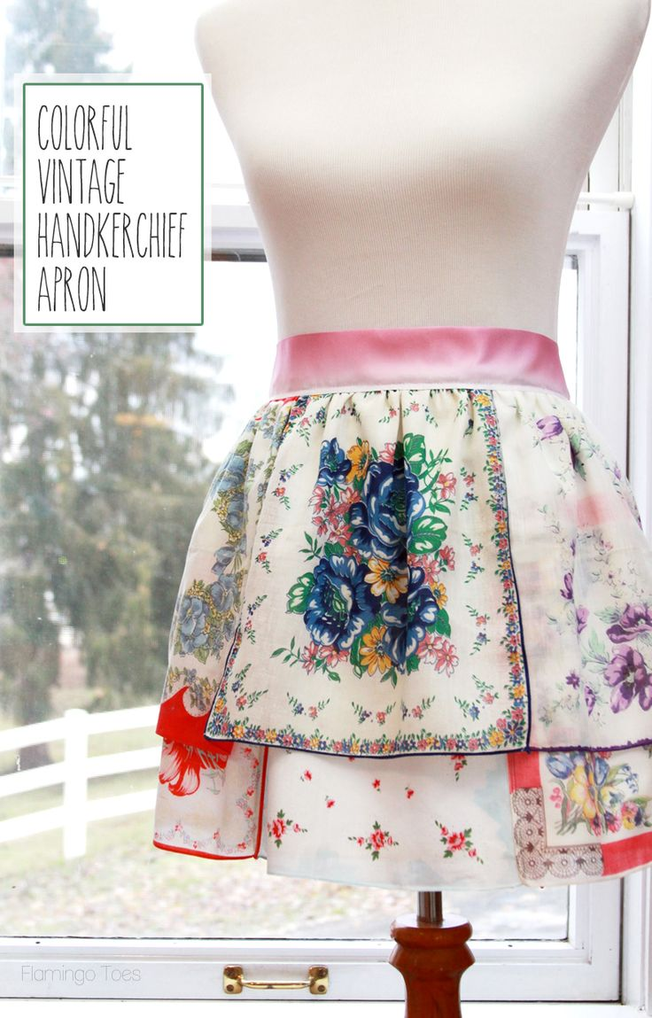 Colorful Vintage Handkerchief Apron - so cute and really easy to sew!