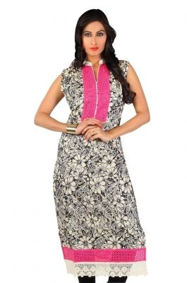 Printed Net Kurti-C0303006 Look smart and stylish wearing this multicolor net kurti. This kurti features prints all over body with lace work on hemline and neckline . Pair it up with some  junk jewellery to stun your onlookers.