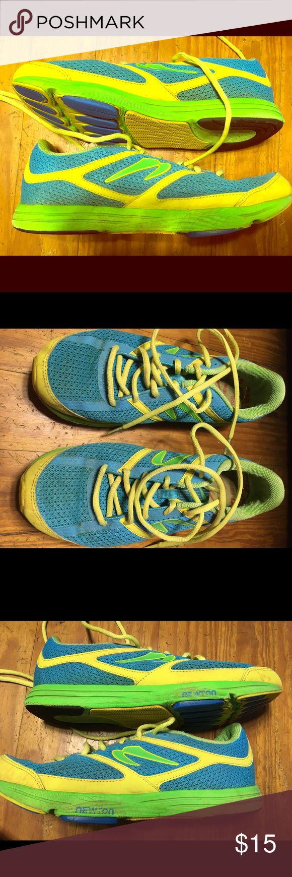 Newton running shoes These running shoes have been used but are in good condition.  They're great for if you want them to walk or hike in.  As shown by the last two pictures, the tread is only worn down a little (where the blue turns to yellow is all it has been worn down), so these will work for running as well.  These are great for if you want to try out the brand without buying an expensive pair of shoes and maybe realizing that they're not so great.  I actually liked them - I just don't…