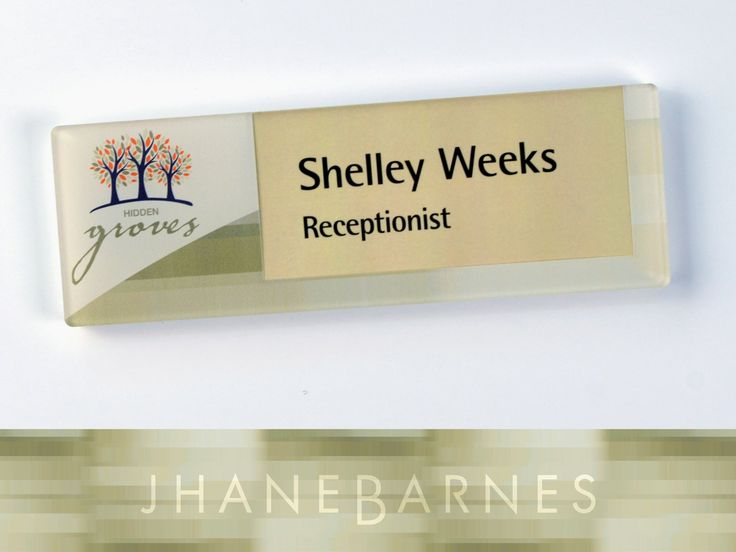 Vivid direct print workstation nameplate with changeable paper insert using Jhane Barnes Nuance Sand pattern done for a Senior Living facility