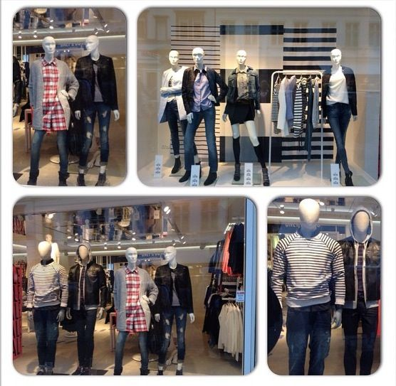 Window campaign for ONLY  Winter 2015 - focus on products with stripes & Denim