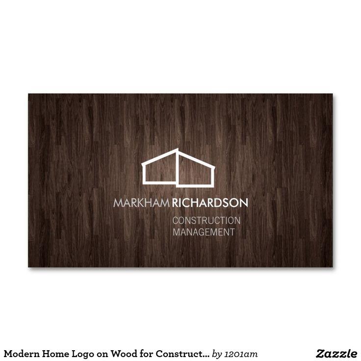Modern Abstract Home Logo on Dark Woodgrain Business Card | Estate ...