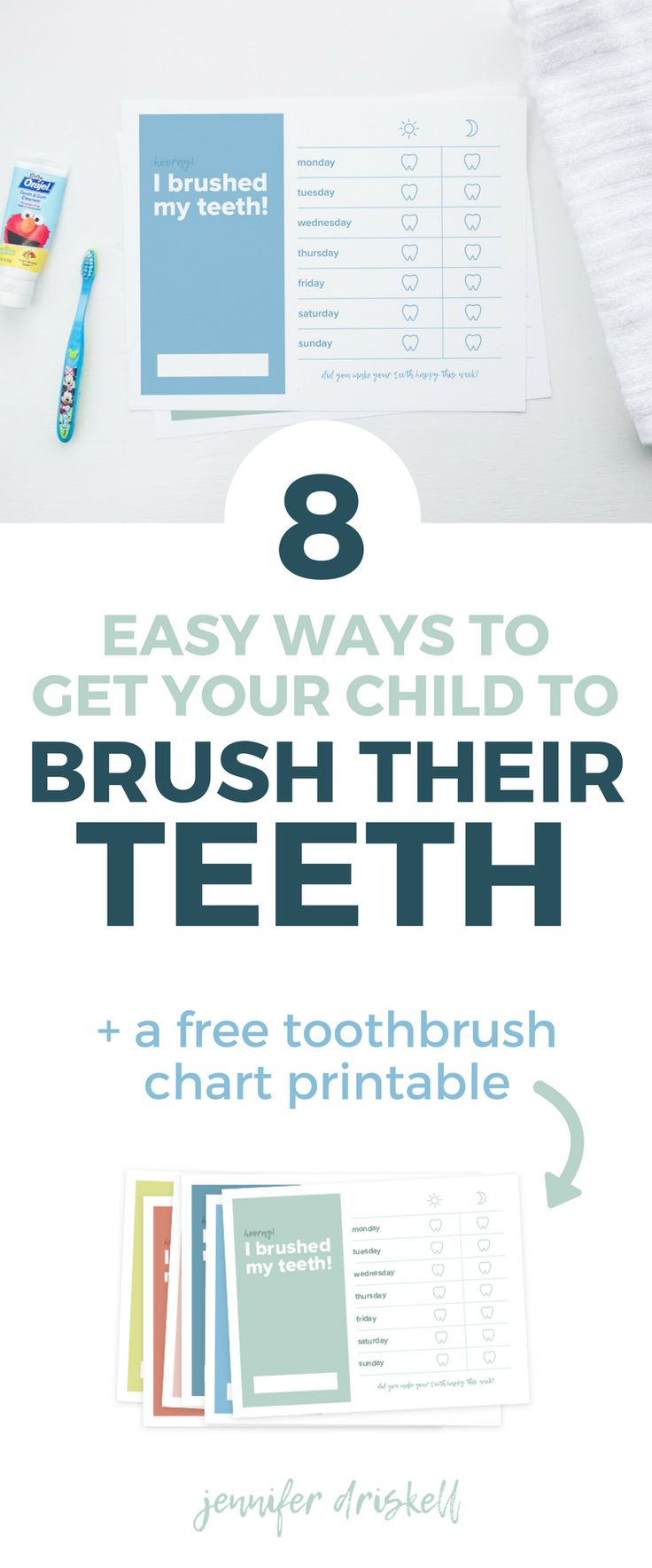 8 Easy Ways to Get Your Child to Brush Their Teeth | Getting your little one to brush their teeth shouldn't be a challenge. These tips and ideas will get them excited about brushing their teeth and make this chore a little more fun. Plus, you can download a free toothbrush chart printable!