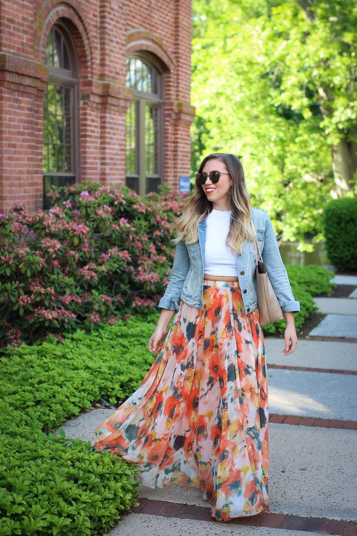 True Life: I'm Addicted to Maxi Skirts Chicwish Orange Blossom Watercolor Maxi Skirt Gap Denim Jacket Quay Supergirl Sunglasses Jackie Giardina Living After Midnite Fashion Style Blogger
