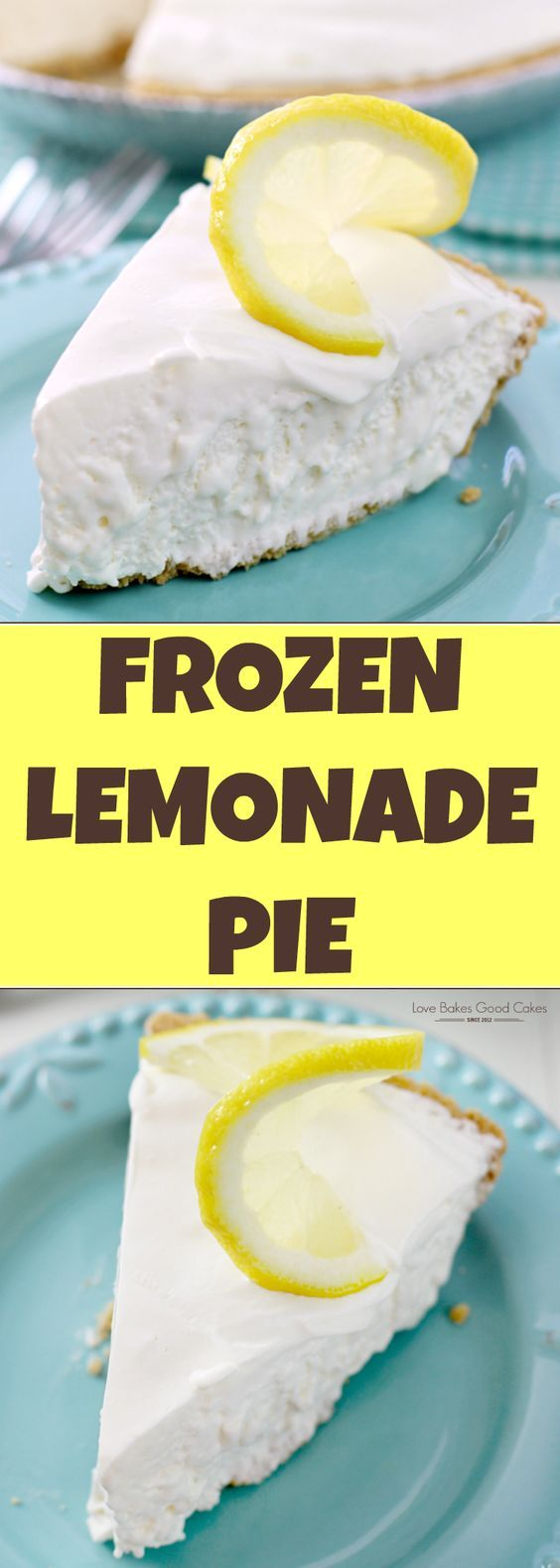 Dessert doesn't get any easier than this Frozen Lemonade Pie! It's a lemon lover's dream come true! (Frozen Cake Square)