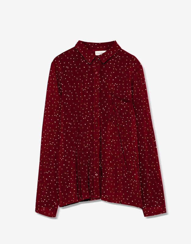 Long sleeved printed shirt - Blouses & shirts - Clothing - Woman - PULL&BEAR United Kingdom