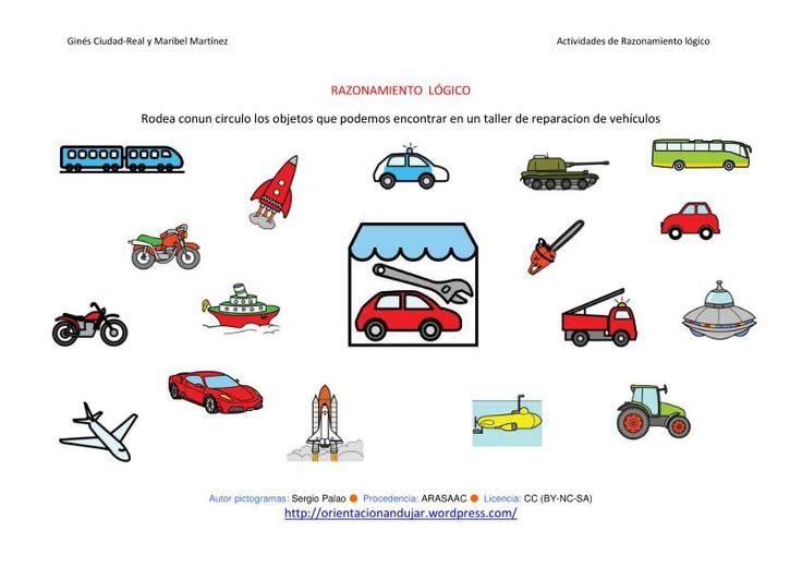 RAZONAMIENTO  LÓGICO categorizar y agrupar ficha-11-taller de reparacion de vehiculos