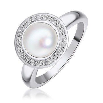 RING KAGI PEARL ORBIT WHITE CUBIC ZIRCONIA WHITE ROUND PEARL IN CENTRE MEDIUM - Jons Family Jewellers