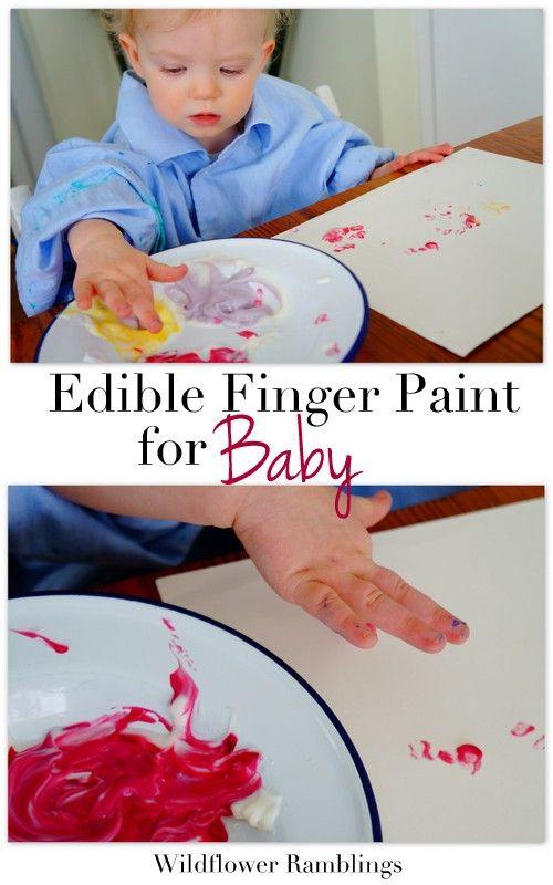 Edible Finger Painting for Baby from Wildflower Ramblings Looks like yogurt with color added.