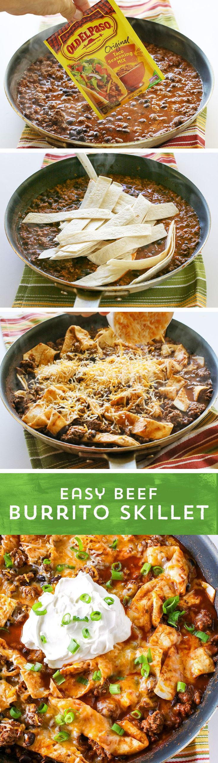 Easy Beef Burrito Skillet ~ The perfect dinner solution... This recipe is everything you love about burritos without all the messy folding & filling falling out - It's just one pan, and it's ready to eat in just 20 minutes!