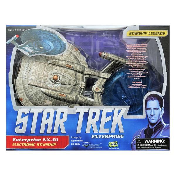 This is the Star Trek Enterprise NX-01 Electronic Starship. The Enterprise measures roughly 12 inches long and lights up and makes sounds. It's a starship for a