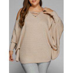 Plus Size Cold Shoulder V Neck Dolman Sleeve Sweater 1