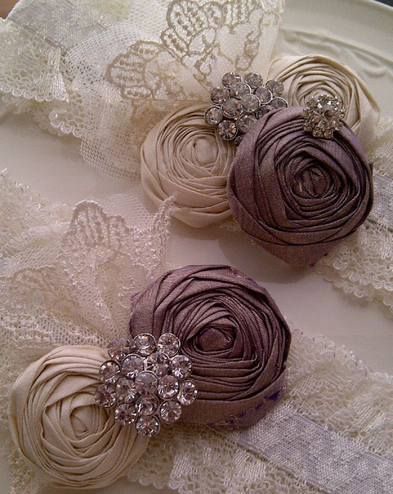 WEDDING Mauve and Ivory Silk and Lace Bridal