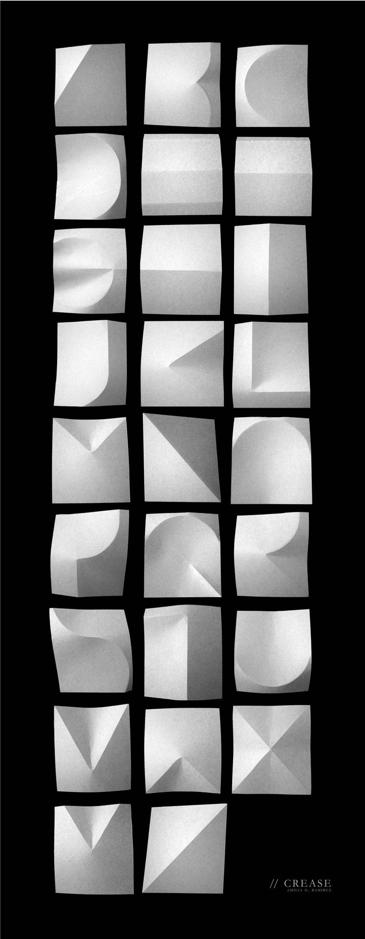 """bonne typographie: expérience de type de pliage de papier """"Crease"""""""
