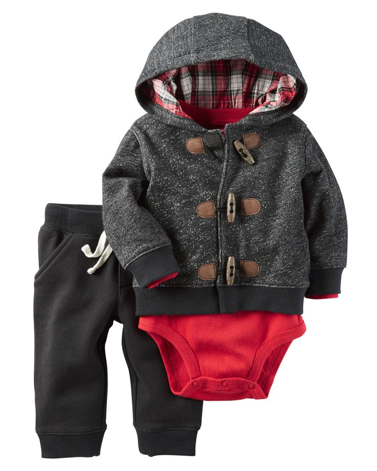 He's warm all winter in this cozy cardigan featuring a toggle button design and a festive plaid-lined hood. Complete with a coordinating bodysuit and pants.