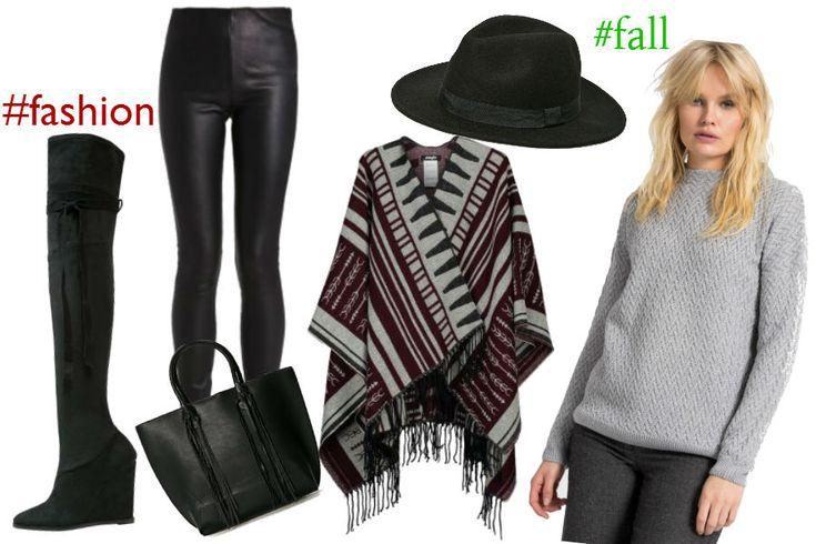 szary sweter, ponczo, skórzane spodnie, czarny kapelusz