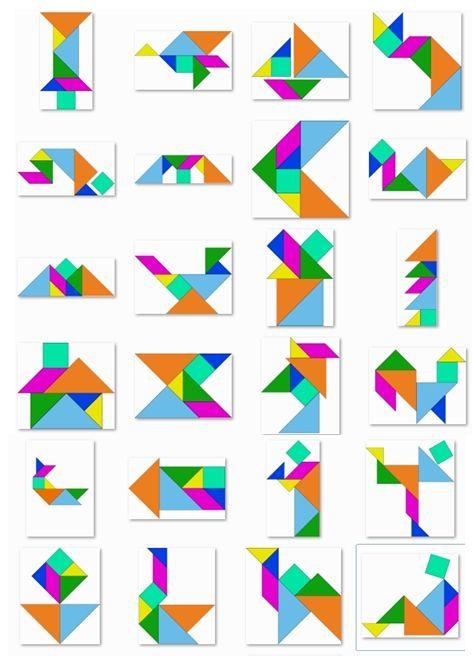 35 modèles de tangrams, en couleur, au format image.