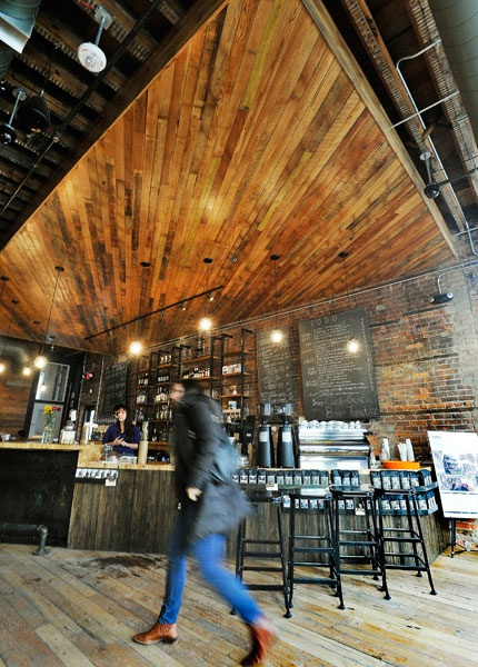 wood ceiling made of century-old heart pine from reclaim detroit @ great  lakes coffee - 20 Best Reclaimed Wood Ceiling Images On Pinterest