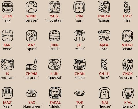 Logograms  In addition to syllabic signs, the Maya script also has a large number of logograms, signs that represent words or morphemes (basic units of meaning) in the language instead of sounds. The following are a few of the logograms