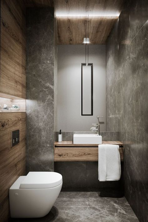 bathroom with combination of marble and wood