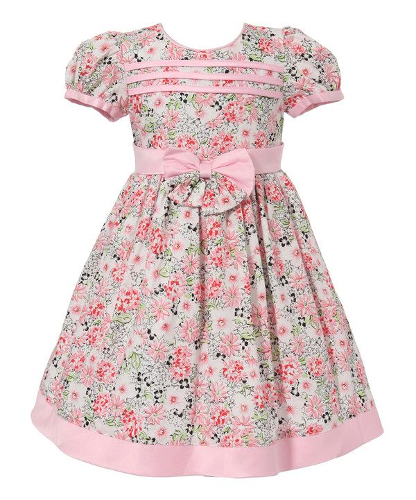 Look at this Pink Floral Bow Puff-Sleeve Dress - Infant