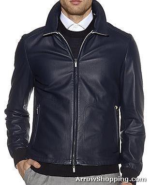 Arrow Men Blue Leather Jacket hbnva