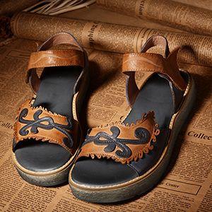 2017 Оригинальный Дизайн Обувь Из Натуральной Кожи Женщина Сандалии Плоские Платформы Открытым Носком Смешанный Цвет Ручной Работы Удобные Вскользь Сандалии купить на AliExpress